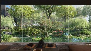 Midtown Modern Condominium Forested Garden